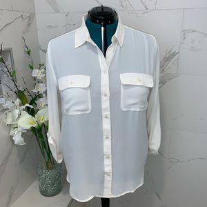 NWT Loft ivory button down blouse XL